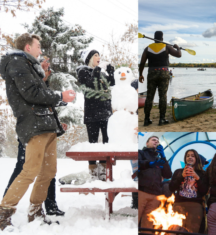 Photos of students building a snowman, getting ready to canoe on a lake, and standing around a campfire.