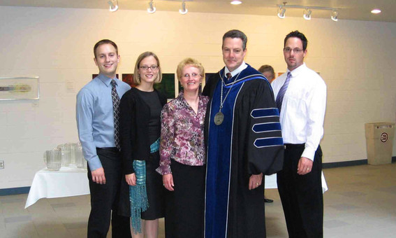 President Harry Fernhout inauguration. Photo with family after installation ceremony