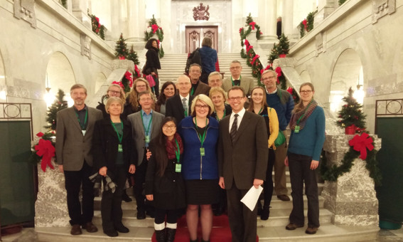 Delegation from King's University at the Alberta Legislature.