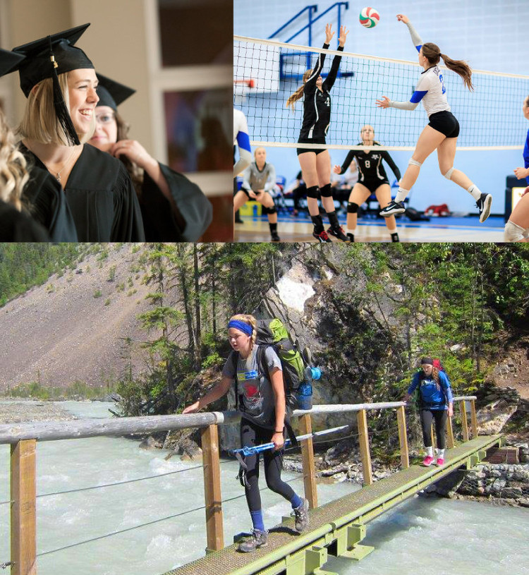 Photos of King's students graduating, playing volleyball, and hiking