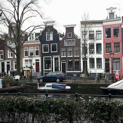Narrow homes in Amsterdam along the canal.