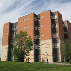 Outside view of the 5 floor apartment building at The King's University