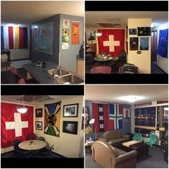 Four pictures showing many flags hanging on the walls of an apartment.