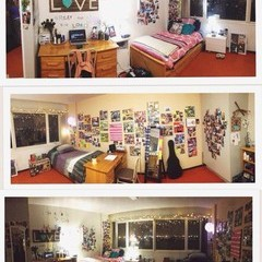 Residence room set up with lots of pictures and things hung on the wall.