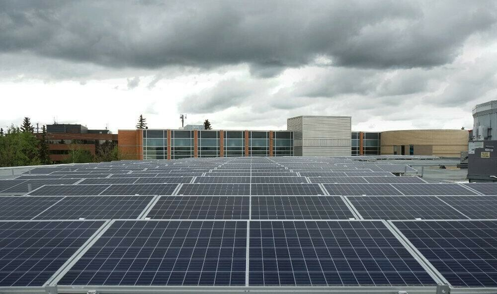 New solar array on top of central academic building.