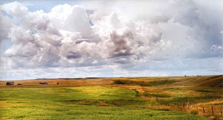 Bri Vos photo of Alberta landscape hanging at The King's University
