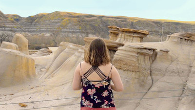 Student on a class trip to the Hoodoos in Drumheller, Alberta.