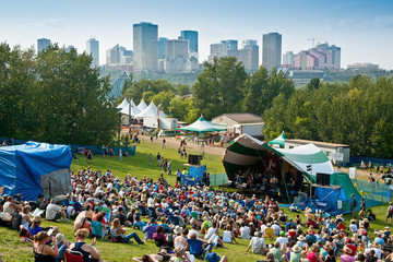 Festival with the city of Edmonton in the background