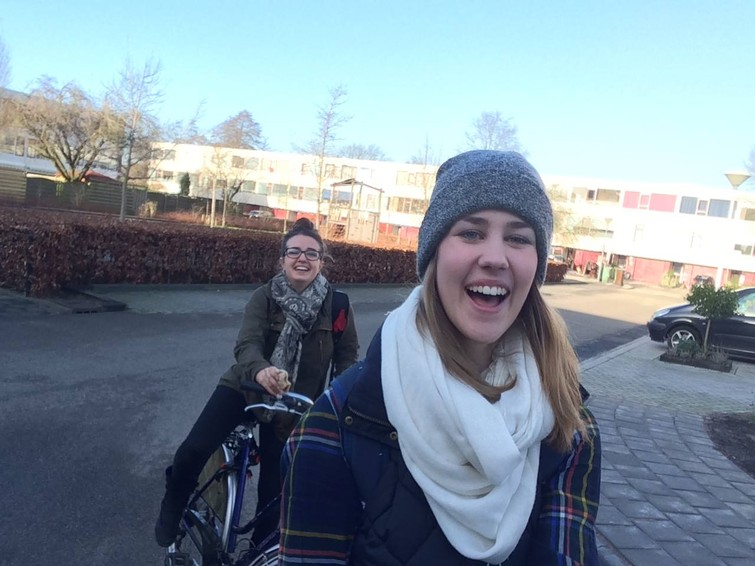 "Biking to school during the ""Going Dutch"" study abroad this past January"