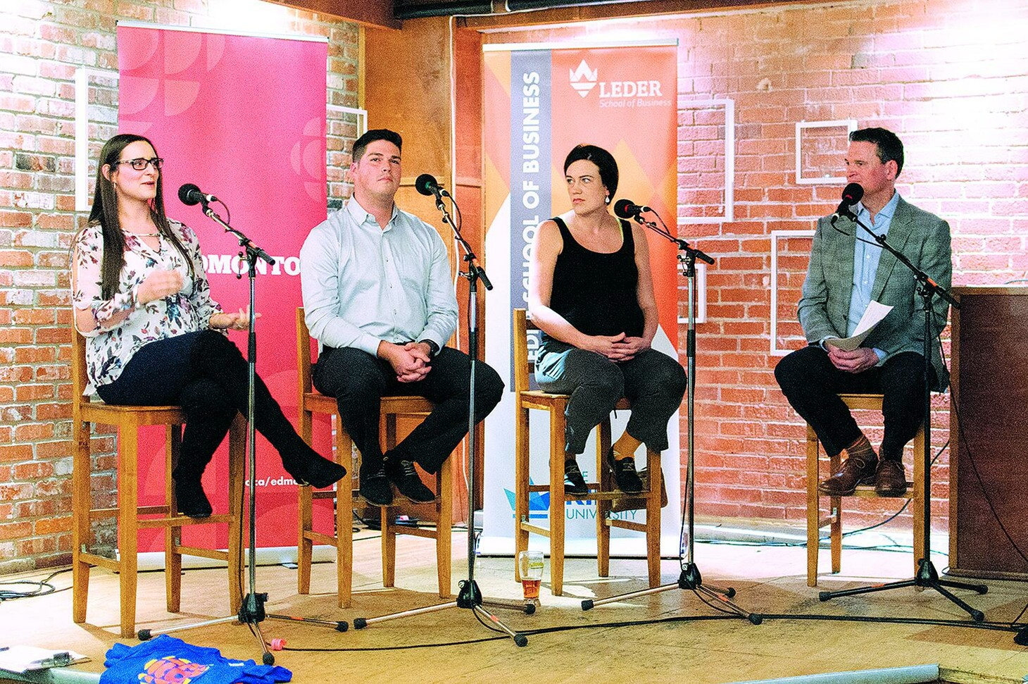 Entrepreneurs Nicolette Leonardis, Jordan Jolicoeur, and Justine Barber with Mike Connolly.
