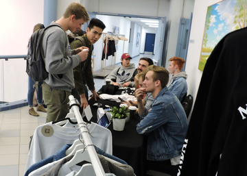 Students browse clothing at King's Entrepreneurship club pop up shop