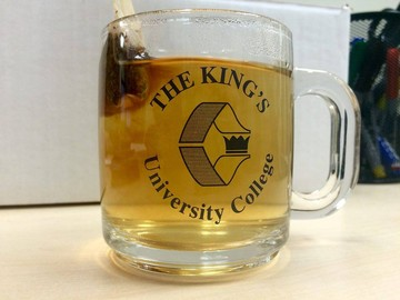 Enjoying some tea in my retro King's mug!