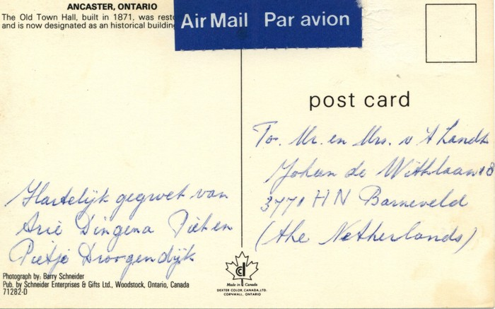 Old Town Hall Ancaster Ontario Library Postcards Collection The King S University